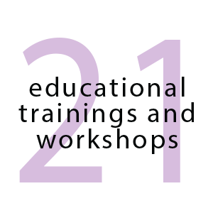 21 educational trainings and workshops