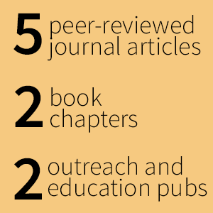 5 peer-reviewed articles, 2 book chapters, 2 outreach and education pubs